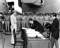 PHOTO COURTESY: PUBLIC DOMAIN - On Sept. 2, 1945, Japanese Foreign Minister Mamoru Shigemitsu signed the Instrument of Surrender on behalf of the Japanese government, formally ending World War II.