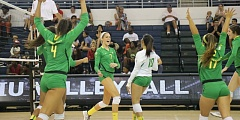 COURTESY: GODUCKS.COM - Taylor Agost (second from left) led the Oregon Ducks past LUI-Brooklyn on Monday with a career-high 16 kills.