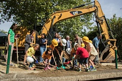 COURTESY OF KATHY STREET/OREGON ZOO - Schoolchildren help officials break ground Tuesday morning on a new conservation education center at the Oregon Zoo.