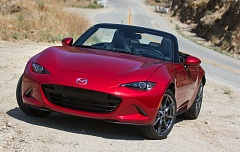 TRIBUNE PHOTO: JOHN M. VINCENT - The 2016 Miata takes on a more aggressive stance than ever, with narrow slits for its standard LED headlights. 16-inch alloy wheels are standard on the Sport model, while upper trims gain 17-inch alloys.