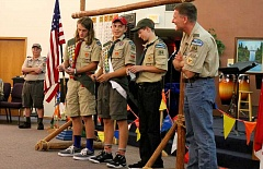 SPOKESMAN PHOTO: JAKE BARTMAN - From left: Assistant Scoutmaster Dave Hoshaw, Life Scout Chance Hansen, Life Scout Josh Budiao, First Class Scout Carson Degroat, and Assistant Scoutmaster Jarold Weister.