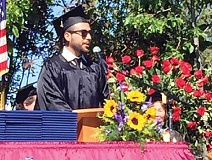 SUBMITTED PHOTO - Brayan Gonzalez, of Madras, delivers the student commencement address at COCC in June.