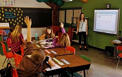 POST PHOTO: KYLIE WRAY - Mackenzie Woodcock leads her students in a mathematics lesson.