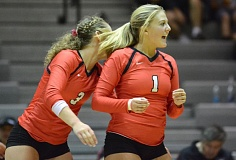 PAMPLIN MEDIA: DAVID BALL - Oregon City setter Payton Krug celebrates winning a point during the Pioneers five-set win over David Douglas.