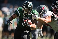 COURTESY: PORTLAND STATE UNIVERSITY - Nate Tago, one of three running backs who have shared ball-carrying duties this season, gets through a Western Oregon tackler during last week's 31-0 Portland State victory at Providence Park. The Vikings take on North Dakota at Hillsboro Stadium at 2 p.m. Saturday in a clash of teams off to 1-0 starts in the Big Sky Conference.
