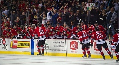 TRIBUNE PHOTO: KENT FRASURE - The Portland Winterhawks bench celebrates the team's first goal of the home season with Rodrigo Abols (18), who scored it in the first period Saturday night at Moda Center.