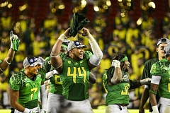 COURTESY: ERIC EVANS - DeForest Buckner (44) and the University of Oregon defensive line put together a good game last week at Colorado, helping the team's confidence, he says.
