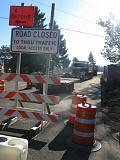 PHOTO BY: RAYMOND RENDLEMAN - Strawberry Lane, a major east-west thoroughfare for unincorporated Clackamas County, is closed at its crossing of Interstate 205.