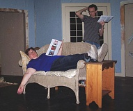 CONTRIBUTED PHOTO - Kim Berger, on couch, and Justin Lazenby rehearse a scene in 'See How They Run,' which debuts Oct. 9.