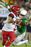 TRIBUNE FILE PHOTO: JAIME VALDEZ - Anu Solomon of Arizona tries to evade the rush in a Pac-12 championship game against Oregon.