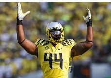 COURTESY: ERIC EVANS - DeForest Buckner, 6-7 and 300 pounds, is leading the way on defense up front as the Oregon Ducks prepare to play host to Washington State on Saturday.