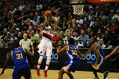 TRIBUNE PHOTO: DAVID BLAIR - Allen Crabbe gets space to put up a jump shot against Golden State as the Trail Blazers beat the Warriors in NBA exhibition play Thursday night at Moda Center.