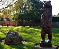 SPOKESMAN PHOTO: JAKE BARTMAN - A statue in Walt Morey Park pays tribute to Gentle Ben, the eponymous hero of a novel by famed Wilsonville author Walt Morey.