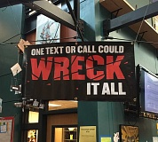 SUBMITTED PHOTO - Banners dedicated to National Safe Teen Driving Week hang throughout the library at West Linn High School.