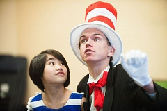 JOSH KULLA - Isaiah Johnson, 17,  Corbett resident, plays the Cat in Hat, and Kate Hawley, 10, plays Jojo in Seussical the Musical.