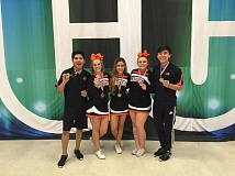SUBMITTED - Gladstone High School cheerleaders pose proudly with their hardware from the recent Oregon Cheerleading Coaches Association All-State Co-Ed Stunt Competition. Pictured are (left to right) Chad Lee, Salina Scharbrough, Kallann Parman, Kylee Schassen and Hiram Luis.