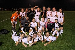 JIM BESEDA/MOLALLA PIONEER - Molalla won a second straight Tri-Valley Conference girls' soccer championship with a 5-0 home win over Estacada in last week's regular season finale at Wood Field.