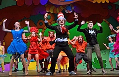 SPOKESMAN PHOTO: VERN UYETAKE - From Front left: Izzy Ochocki as Gertrude McFuzz, Mikhaila Bishop as Cat in the Hat and Angela Cateora as Mrs. Mayor practice a musical routine in preparation for Wilsonville High Schools production of Seussical.