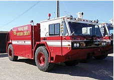 SUBMITTED PHOTO - Jefferson County Fire Department has already taken possession of an aircraft fire engine, for use at the Madras Municipal Airport. The Oshkosh model P19 has a 1,000-gallon water tan and a 130-gallon foam tank.