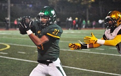 MATTHEW SHERMAN - Qawi Ntsasa intercepts a pass late in the first half during West Linn's 41-6 victory over Roosevelt on Friday.