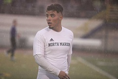 PHIL HAWKINS - North Marion senior Ramon Medrano, pictured at Saturday's quarterfinal game, scored what turned into the game-winning goal in the Huskies 3-2 victory over North Valley in the first round of the Class 4A boys soccer playoffs Nov. 3.
