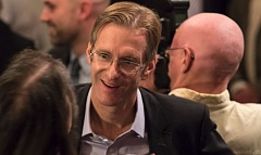 PORTLAND TRIBUNE; JONATHAN HOUSE - State Treasurer Ted Wheeler is surrounded by supporters at his campaign kickoff for Portland mayor.