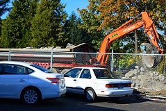SPOKESMAN PHOTO: JAKE BARTMAN - Traffic at the Fred Meyer Fuel Center was worsened last week as the center's car wash was demolished.