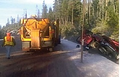 SUBMITTED PHOTO - A pickup truck slid on ice on Highway 20, near Santiam Pass, on Nov. 4, and collided head-on with a snowplow. The driver of the pickup was extricated and transported to St. Charles Bend for treatment of nonlife-threatening injuries.
