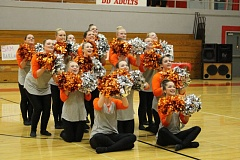 PHOTO COURTESY OF JO ELLEN PACHEBEL - Members of the Scappoose High School Vision Dance Team perform during the pom routine on Saturday, Nov. 7. The team won a fourth place title for the performance.