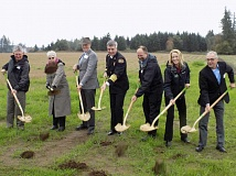 TIMES PHOTO: RAY PITZ - Local and county officials break ground on the new 124th Avenue extension and Willamette River pipeline on Nov. 12.