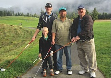 CONTRIBUTED PHOTO - Flanked by his boys, Duane Shelley gathered on the first tee with (from left) great-grandson Landen, grandson Kent and son Guy, at Elk Ridge Golf Course in Carson, Wash., on Saturday, Oct. 10.