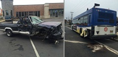 PHOTO COURTESY: CLACKAMAS FIRE - Four people were hurt in this collision between a pickup and a bus on McLoughlin Boulevard on Nov. 16.