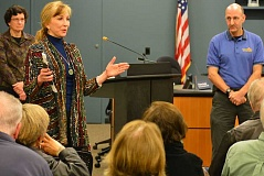 SPOKESMAN PHOTO: JAKE BARTMAN - State Senator Kim Thatcher, R-Keizer, hosted a town hall event on emergency preparedness in Wilsonville Nov. 10. Left: City of Wilsonville Public Works Director Delora Kerber; right: Tualatin Valley Fire & Rescue Emergency Manager Jeffrey Rubin.