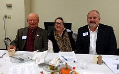 NEWS-TIMES PHOTO: STEPHANIE HAUGEN - (Left to right) Washington County Farm Bureau President Edmund Duyck, Sen. Betsy Johnson, and the Oregon Farm Bureau's Dave Dillon attended the county bureau's 68th anniversary dinner last week in Verboort.