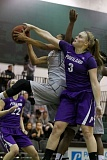 TRIBUNE PHOTO: JONATHAN HOUSE - Kaylie Van Loo (right) of the Portland Pilots battles for a rebound against Portland State.