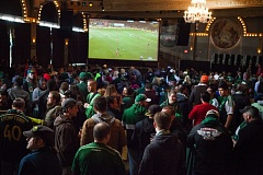 TRIBUNE PHOTO: ADAM WICKHAM - Portland soccer fans pack the Crystal Ballroom to watch the Timbers play FC Dallas on Sunday in Frisco, Texas.