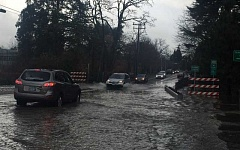 SUBMITTED PHOTO - Drivers splash across Southwest Hall Boulevard in Tigard on Monday after Fanno Creek overflowed its banks onto the road. On Thursday Oregon Governor Kate Brown declared a state of emergency of 13 Oregon counties, including Washington County