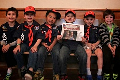 PAMPLIN MEDIA GROUP FILE PHOTO - The boys of Hillsdale's Tiger Cub den from Cubscout Pack #254 - Leo Garcia (from left), Thomas Flath, Milo Watson, Lucas Coles, Gabriel Woods and Desmond Hille - learned about community journalism and the Southwest Community Connection back in April.