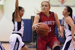 THE OUTLOOK: DAVID BALL - Corbetts Rhiley Fritz splits a pair of defenders on a trip through the lane. She finished with a game-high 30 points in Wednesdays title game.