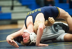 OUTLOOK PHOTO: JOSH KULLA - Barlow 126-pound wrestler Alex Elwell scored a victory by pin in a Jan. 7 matchup with Oregon City in which the Bruins scored a 53-18 team win.