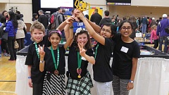 SUBMITTED PHOTO - From left, Riddic Molatore, Aditi Bhaskar, Claudia Molatore, Divya Sivakumar and Sameera Yatham celebrate their second-place finish at the state competition.