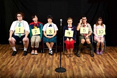 CRAIG MITCHELLDYER - Young actors become nerdy tweens in a do-or-die contest in Broadway Rose's production of 'The 25th Annual Putnam County Spelling Bee.' Pictured left to right are Troy Pennington (William Barfee), David Swadis (Leaf Coneybear), Audrey Voon (Marcy Park), Catherine Olson (Logainne SchwartzandGrubenierre), Alex Salazar (Chip Tolentino) and Daniel Purdy (Olive Ostrovsky).