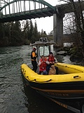 CLACKAMAS FIRE DISRICT #1 - The happy ending to a dog rescue on the Clackamas River on Saturday.