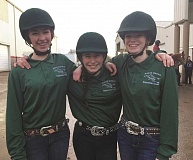 KIM KNIGHT - From left, Michaela Chapin, Alexis Knight and Mikayla Biggs enjoyed a successful season-opening equestrian meet last week from Thursday through Sunday. The Huskies will compete twice more this season in March and April for an opportunity to qualify for the state championships in May.