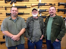 PEGGY SAVAGE - Jim Winsett, Bill Davey, Sr. and Bill Davey, Jr., owners of Wild Bill's Guns, plan to close up shop by the end of February.