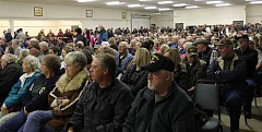 JASON CHANEY - A crowd fills Carey Foster Hall to capacity and beyond Thursday evening, nearly all there to encourage Crook County Court members to officially oppose Oregon Wild's proposed Ochoco Mountain National Recreation Area.