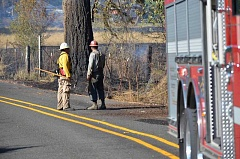 CONTRIBUTED PHOTO: ESTACADA RURAL FIRE DISTRICT - The Estacada Rural Fire District is seeking volunteer firefighters. Pictured here, crews work on Fellows Road.