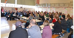 JOHN BREWINGTON - Hundreds filled the cafeteria at Scappoose Middle School for a town hall session with city leaders last Saturday, Jan. 23. Feedback will be compiled as the City Council formulates its short- and long-term goals this year.