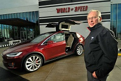 SPOKESMAN PHOTO: VERN UYETAKE - John Schenk chose the signature red color for his Tesla Model X P90DL Signature Series, one of the first all-electric SUVs.