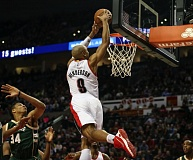 TRIBUNE PHOTO: DAVID BLAIR - Blazers guard Gerald Henderson, who had a strong fourth quarter in Portland's victory, gets above the rim Tuesday night against the Milwaukee Bucks at Moda Center.
